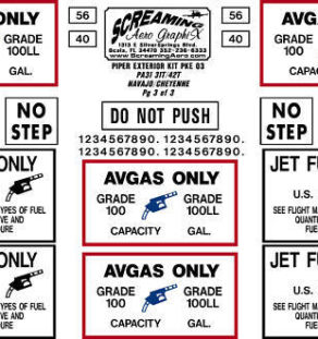 Piper Exterior Placard Kit PA31 31T/42T